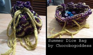 Knitting - Summer Dice Bag by ChocoboGoddess