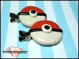 Pokeball Hairclips by GrandmaThunderpants