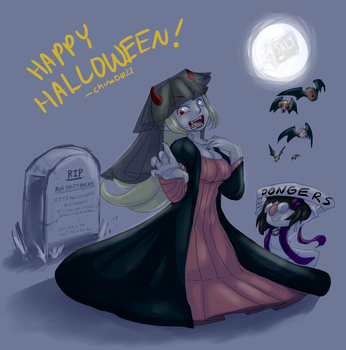 Halloween Salt girl and Twitch-chan by the-chinad011-house