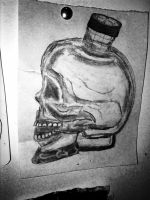 quick study of one of my many vodka skulls  by CharaSweetCheeks