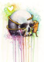 Jake the Dog Hugging Skull Adventure Time Art by Olechka01