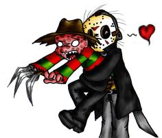 Freddy and Jason by xEvilxPenguinxNinjax