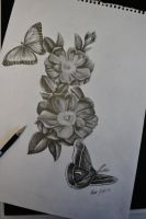 Flowers butterfly and moth sketch for a tattoo by Ronny-Inked