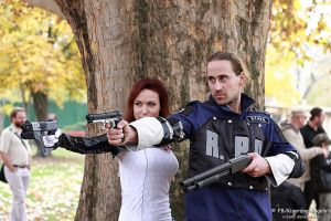 Miranda and a police from Racoon 4 by V-kony
