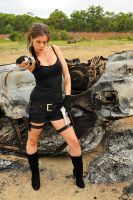 Stacey - Lara and burnt car 4 by wildplaces