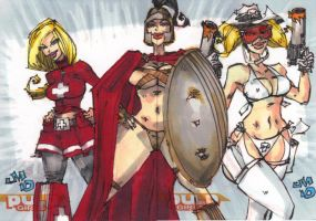 SKETCH CARDS Pulp Girls AE by jasinmartin