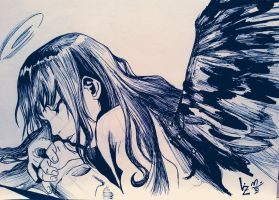 Angel sketching by lizmogollon