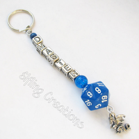 Blue and Silver Dungeon Master Keychain by merigreenleaf