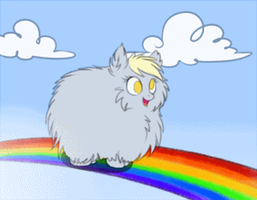Grey Fluffy Derpy Dancing On Rainbows ANIMATION by Melon-Drop