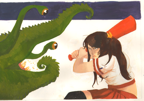 schoolgirl vs tentacle monster by pkzombie