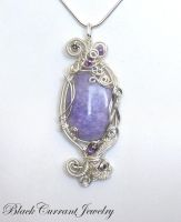 Purple Jade Pendant by blackcurrantjewelry
