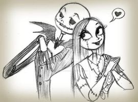 Jack and sally sketch by selene-nightmare69