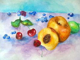 peaches and berries by palindromenoise