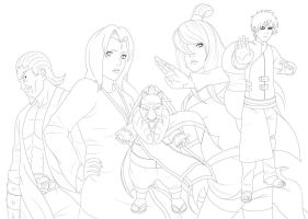 The real kages -lineart- by GaaraJamiE88