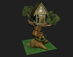 Low poly treehouse by GenghisKwan