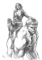 Widow and Hulk by huy-truong