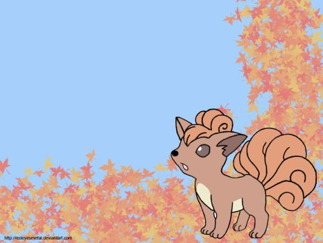 Vulpix In Leaves by RedEyesMetal