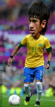 Caricature Soccer Player Neymar in London 2012 by dnunciate