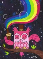 Drink the Rainbow Argyle Owl by fuish