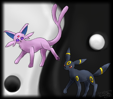 Espeon x Umbreon :: Collab by CranberryNoodles