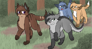 Rowanclaw, Nightstripe, Rainclaw and Treetail by CascadingSerenity