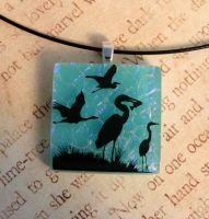 Wading Birds Fused Glass Pendant by FusedElegance