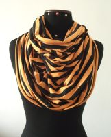 Infinity Scarf in - Orange Yellow and Black - Cott by LiliaVanini