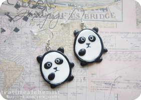 panda earrings by tea-time-alchemist