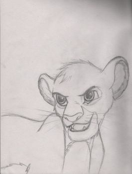 Cub Simba 1 scetch by WhiteWinterDragon