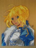 Saber (Fate Stay Night) Perler Portrait by Cimenord