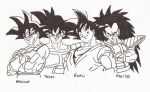 Goku with family and Turles by superheroarts