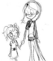 Little 'Sister' (black and white) by i8pancakes96