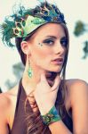 Leather Peacock Feather Crown, Cuff and Earrings by Beadmask