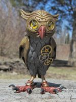 Minerva the Steampunk Owl - front view by MadPaganIndustries