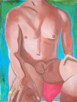 Seated Male Nude In Acrylic by laurichg