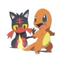 Litten and Charmander