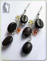 Polymer Clay Coffee Bean Earrings by Talty