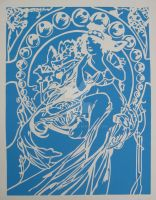 Mucha - Music Paper Cut by Lavinark