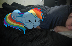 Rainbow Dash sleeping next to me by ikillu2202