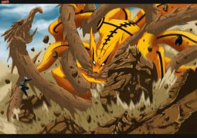 kurama vs wood dragon HD-70% by Minato-Namikadze