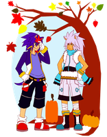 Autumn Leaves-Sonic and Silver by Sora-na