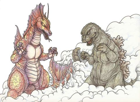 Titanosaurus vs Godzilla by tin-tower