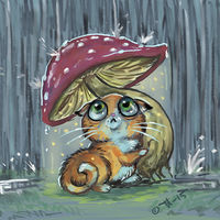 Kitty with an umbrella by shivikai
