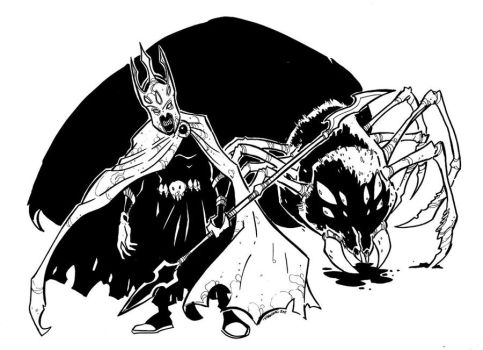 Melkor Morgoth and Ungoliant by travisJhanson