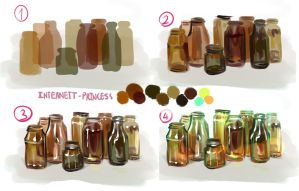How I paint Bottles by Hohoemii
