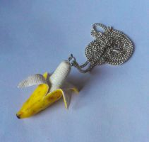 Polymer Clay Peeling Banana Necklace by ChroniclesOfKate