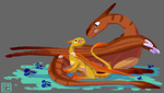 Mother and Daughter Dragons by Gryphon-Shifter