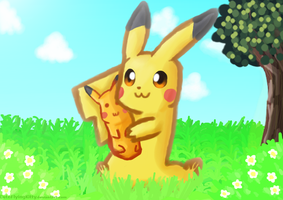 Pikachus New Friend by CuteFlyingKitty