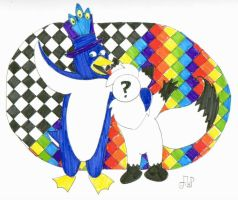 Emperor Penguin and Random Eevee by EmperorNortonII