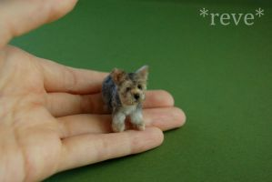 Miniature Terrier Mix Dog Handmade Sculpture by ReveMiniatures